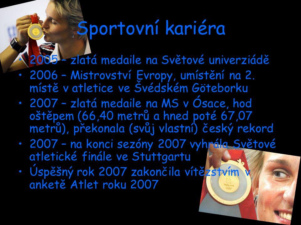 Sportovní kariéra 2005 – zlatá medaile na Světové univerziádě 2006 – Mistrovství Evropy, umístění na 2.