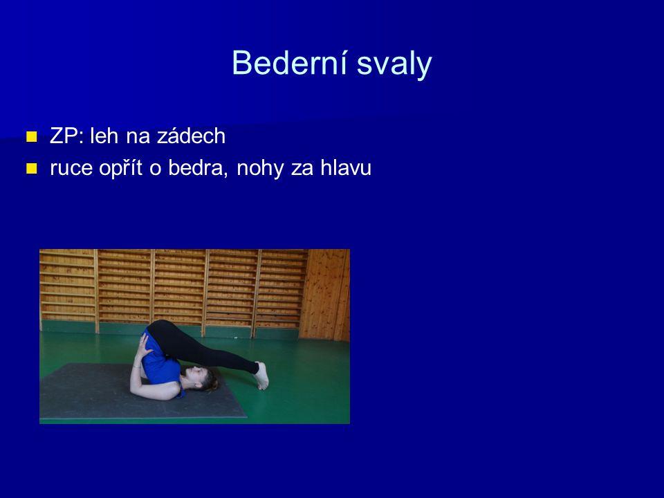 Bederní svaly ZP: leh na zádech ruce opřít o bedra, nohy za hlavu