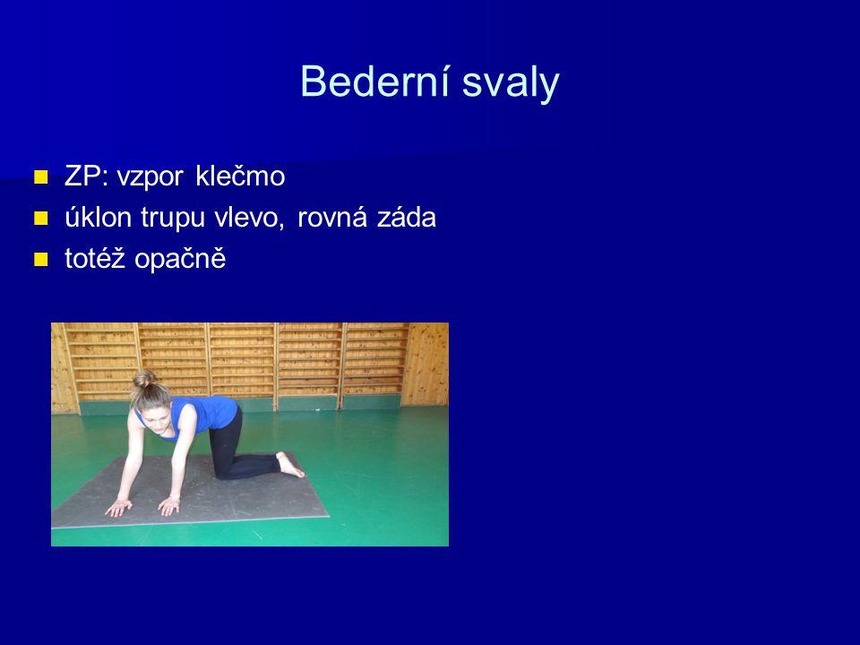 Bederní svaly ZP: vzpor klečmo úklon trupu vlevo, rovná záda totéž opačně