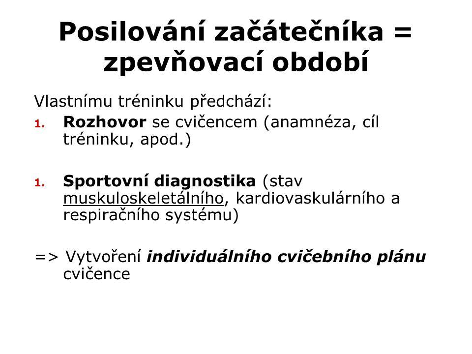 Posilování začátečníka = zpevňovací období Vlastnímu tréninku předchází: 1. Rozhovor se cvičencem (anamnéza, cíl tréninku, apod.) 1. Sportovní diagnos