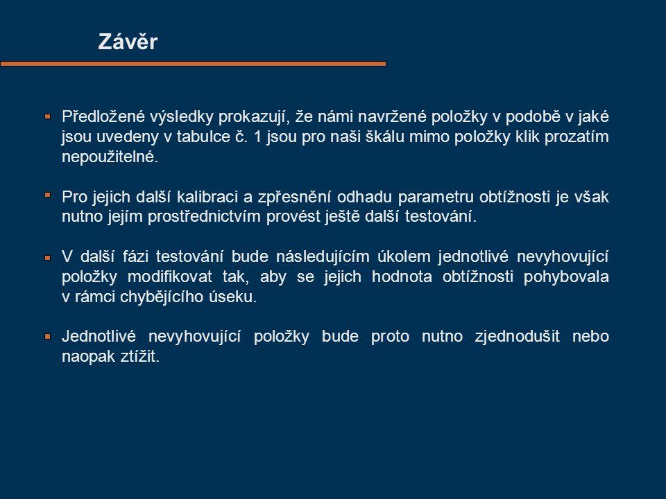 Závěr Předložené výsledky prokazují, že námi navržené položky v podobě v jaké jsou uvedeny v tabulce č.
