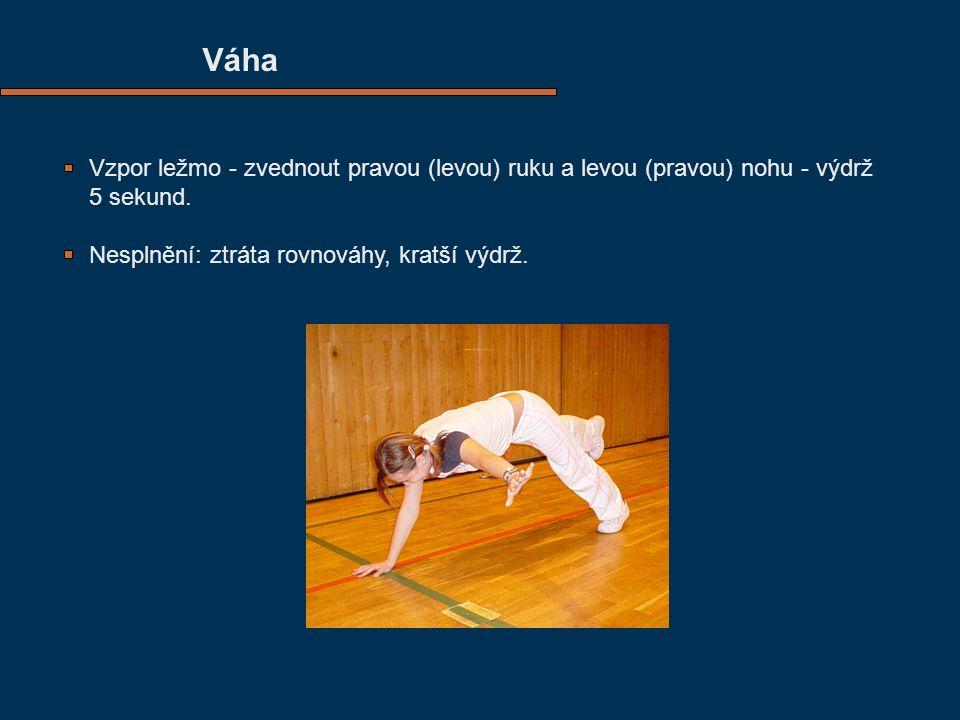 Váha Vzpor ležmo - zvednout pravou (levou) ruku a levou (pravou) nohu - výdrž 5 sekund.