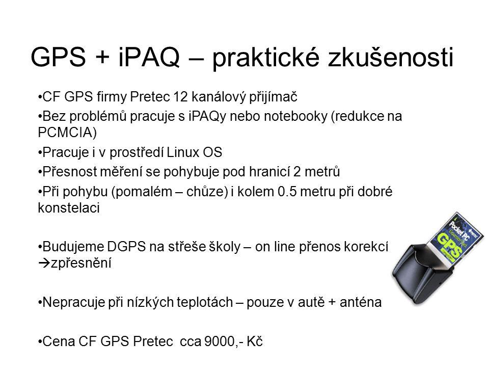 GPS + iPAQ – praktické zkušenosti CF GPS firmy Pretec 12 kanálový přijímač Bez problémů pracuje s iPAQy nebo notebooky (redukce na PCMCIA) Pracuje i v