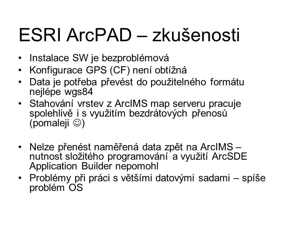 Instalace SW je bezproblémová Konfigurace GPS (CF) není obtížná Data je potřeba převést do použitelného formátu nejlépe wgs84 Stahování vrstev z ArcIM