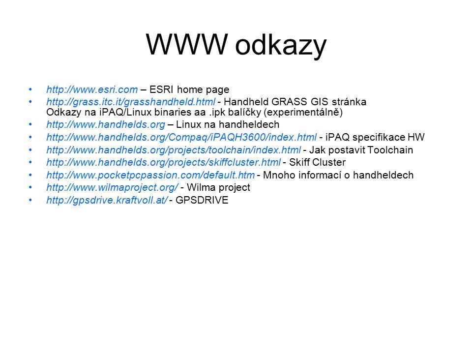 WWW odkazy http://www.esri.com – ESRI home page http://grass.itc.it/grasshandheld.html - Handheld GRASS GIS stránka Odkazy na iPAQ/Linux binaries aa.i
