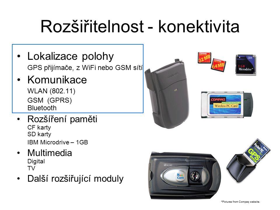 Rozšiřitelnost - konektivita Lokalizace polohy GPS přijímače, z WiFi nebo GSM sítí Komunikace WLAN (802.11) GSM (GPRS) Bluetooth Rozšíření paměti CF k