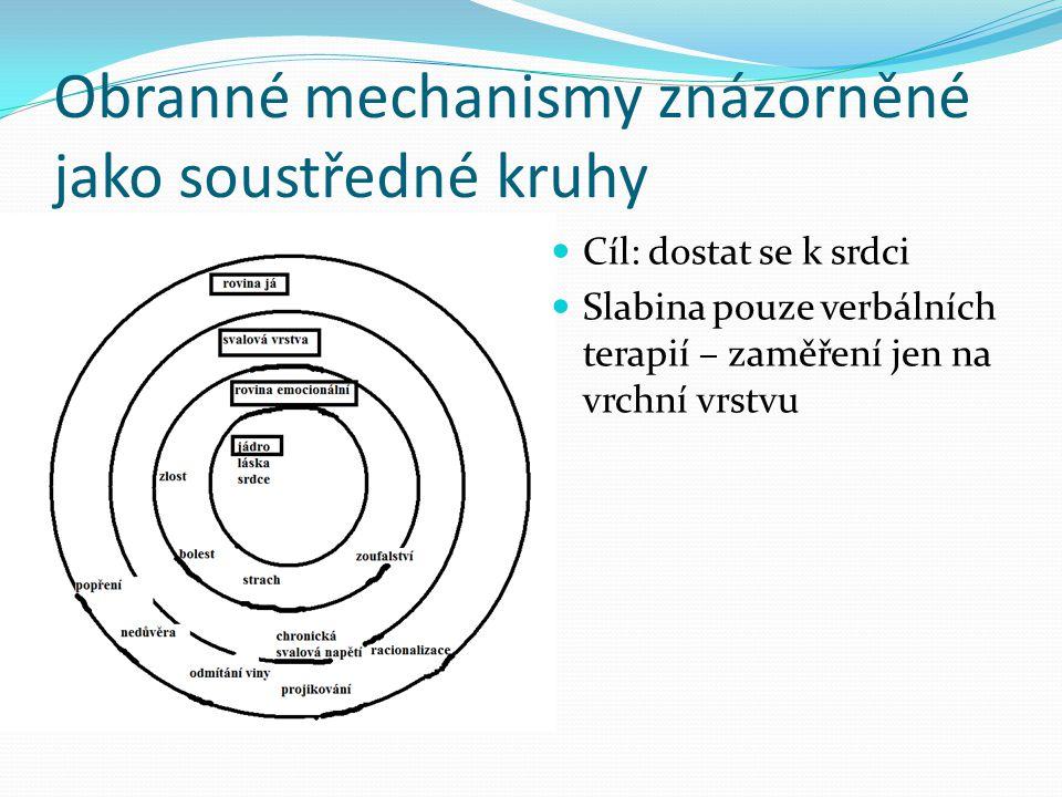 Obranné mechanismy znázorněné jako soustředné kruhy Cíl: dostat se k srdci Slabina pouze verbálních terapií – zaměření jen na vrchní vrstvu