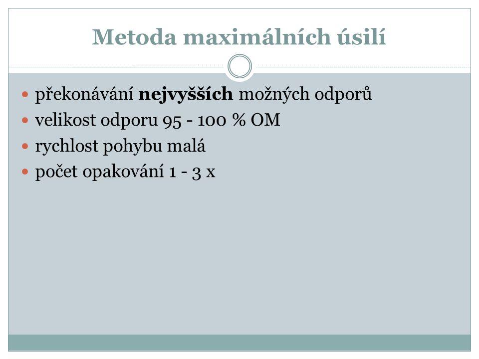 Metoda maximálních úsilí překonávání nejvyšších možných odporů velikost odporu 95 - 100 % OM rychlost pohybu malá počet opakování 1 - 3 x