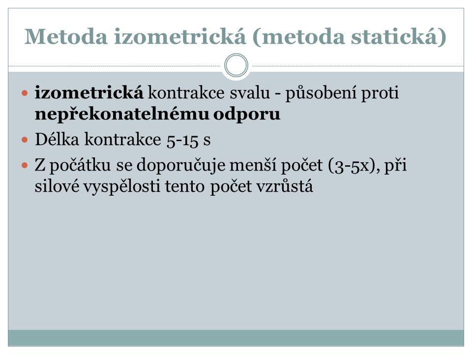 Metoda izometrická (metoda statická) izometrická kontrakce svalu - působení proti nepřekonatelnému odporu Délka kontrakce 5-15 s Z počátku se doporučuje menší počet (3-5x), při silové vyspělosti tento počet vzrůstá