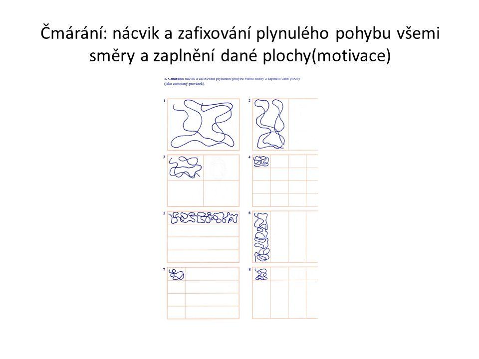Čmárání: nácvik a zafixování plynulého pohybu všemi směry a zaplnění dané plochy(motivace)