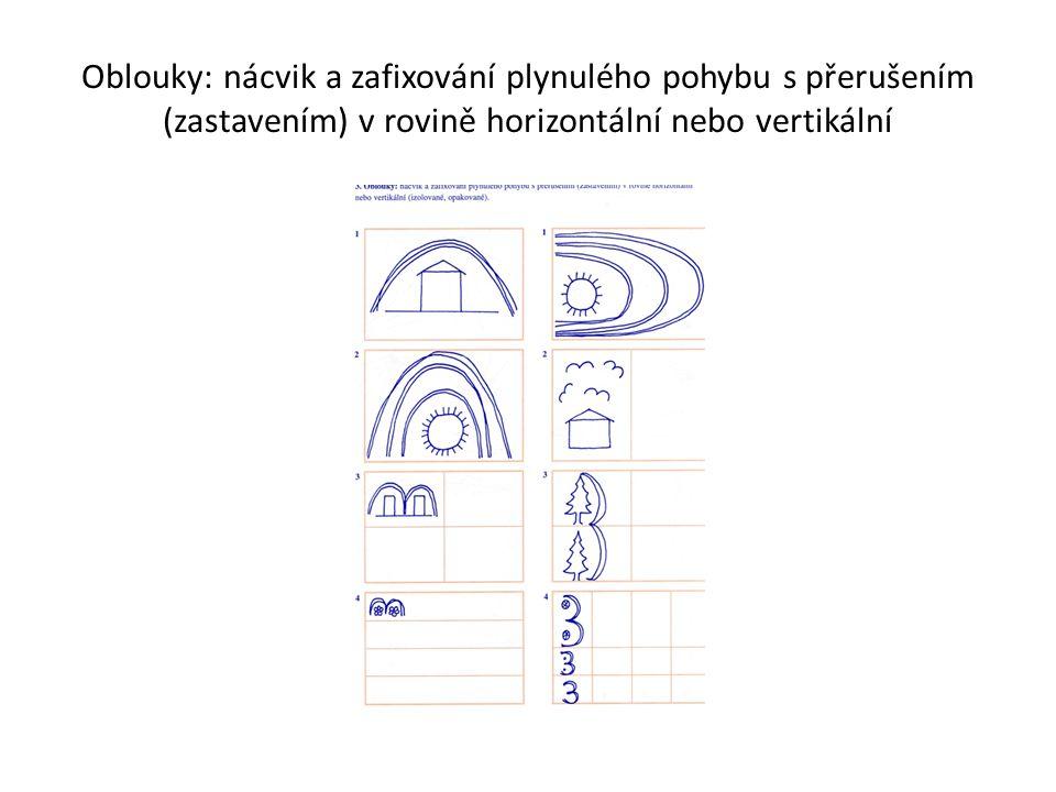 Oblouky: nácvik a zafixování plynulého pohybu s přerušením (zastavením) v rovině horizontální nebo vertikální