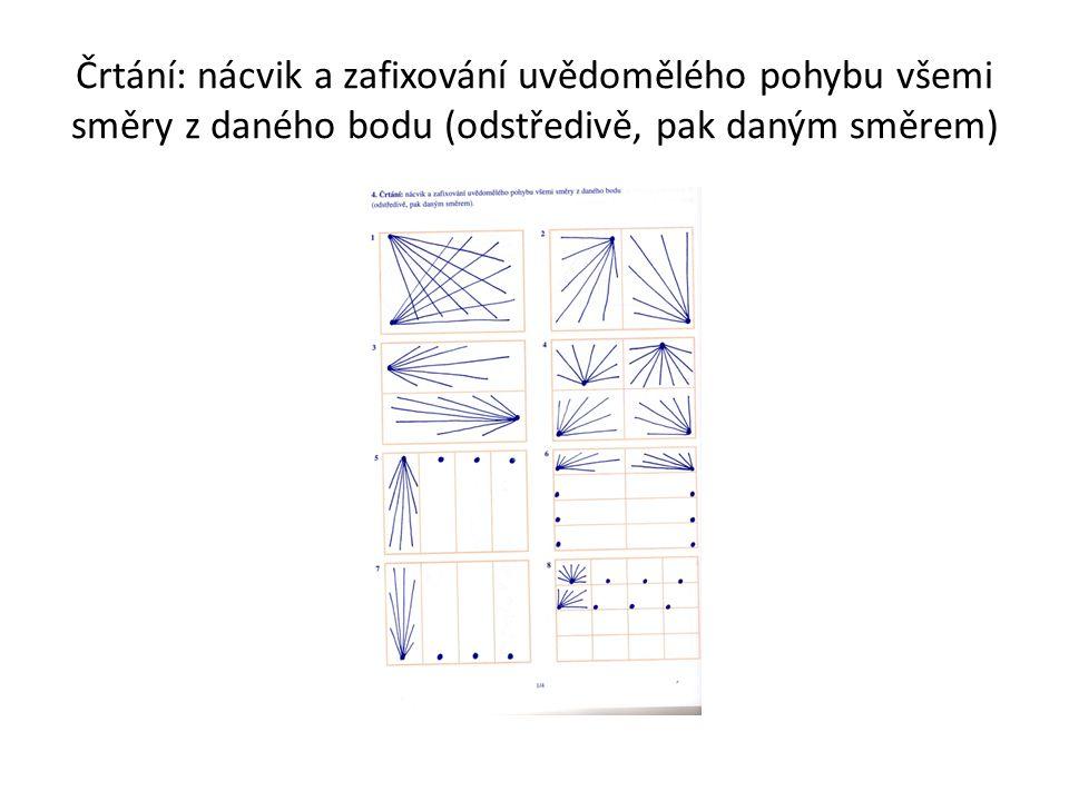 Črtání: nácvik a zafixování uvědomělého pohybu všemi směry z daného bodu (odstředivě, pak daným směrem)