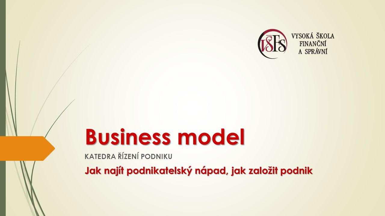 Business model KATEDRA ŘÍZENÍ PODNIKU Jak najít podnikatelský nápad, jak založit podnik