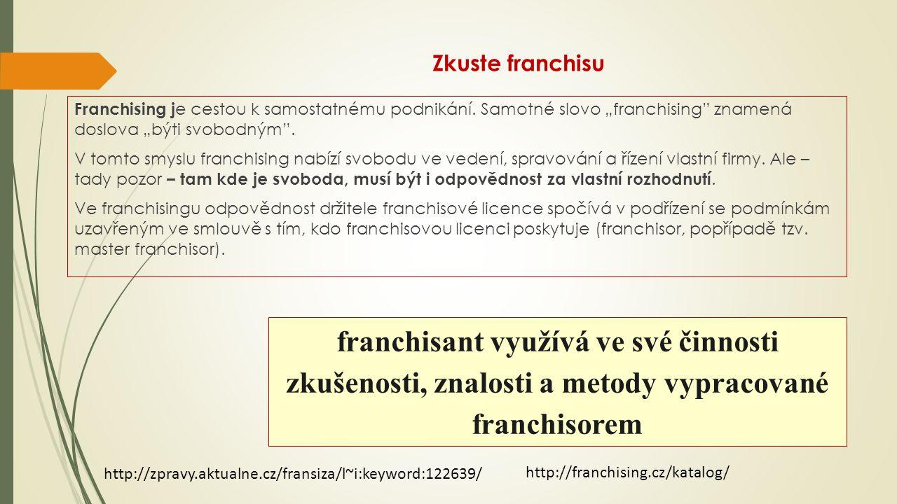 """Zkuste franchisu Franchising j e cestou k samostatnému podnikání. Samotné slovo """"franchising"""" znamená doslova """"býti svobodným"""". V tomto smyslu franchi"""
