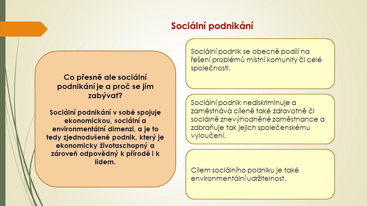 Sociální podnikání Co přesně ale sociální podnikání je a proč se jím zabývat? Sociální podnikání v sobě spojuje ekonomickou, sociální a environmentáln