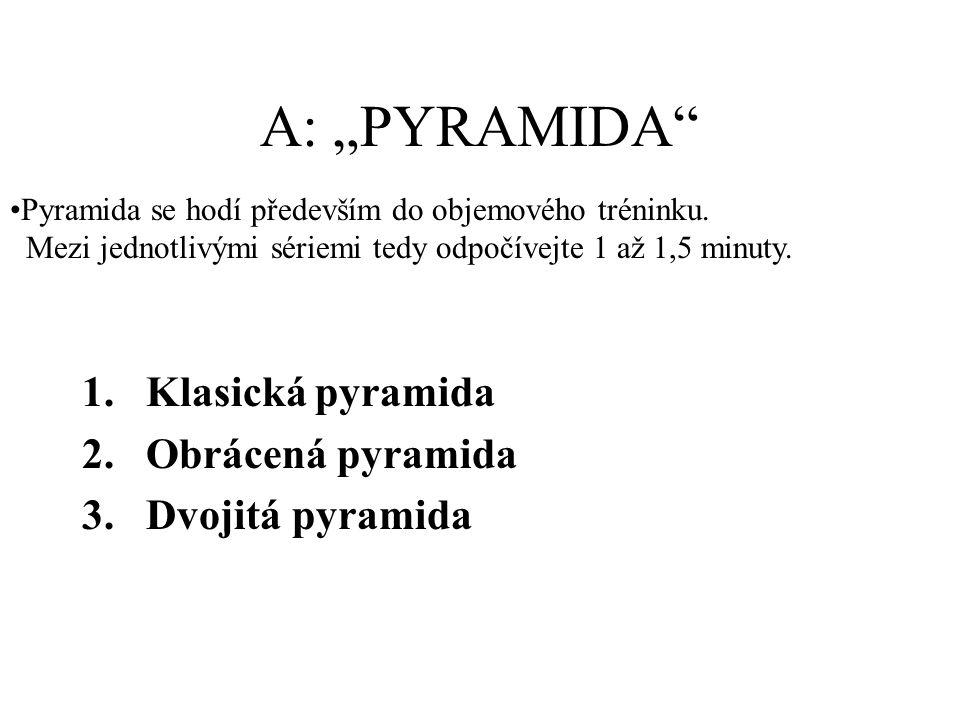 """A: """"PYRAMIDA 1.Klasická pyramida 2.Obrácená pyramida 3.Dvojitá pyramida Pyramida se hodí především do objemového tréninku."""