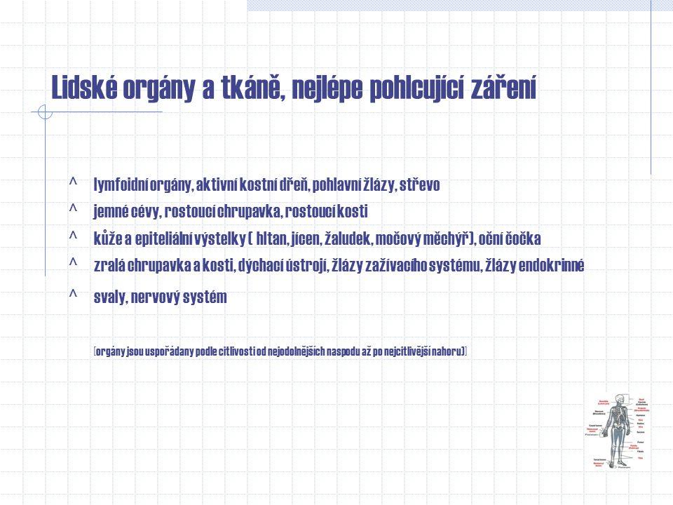 Biologické účinky ionizačního záření na lidský organizmus [chromozómy lidské DNK] Účinky záření na buňku a tkáně: -smrt buňky -změna cytogenetické inf