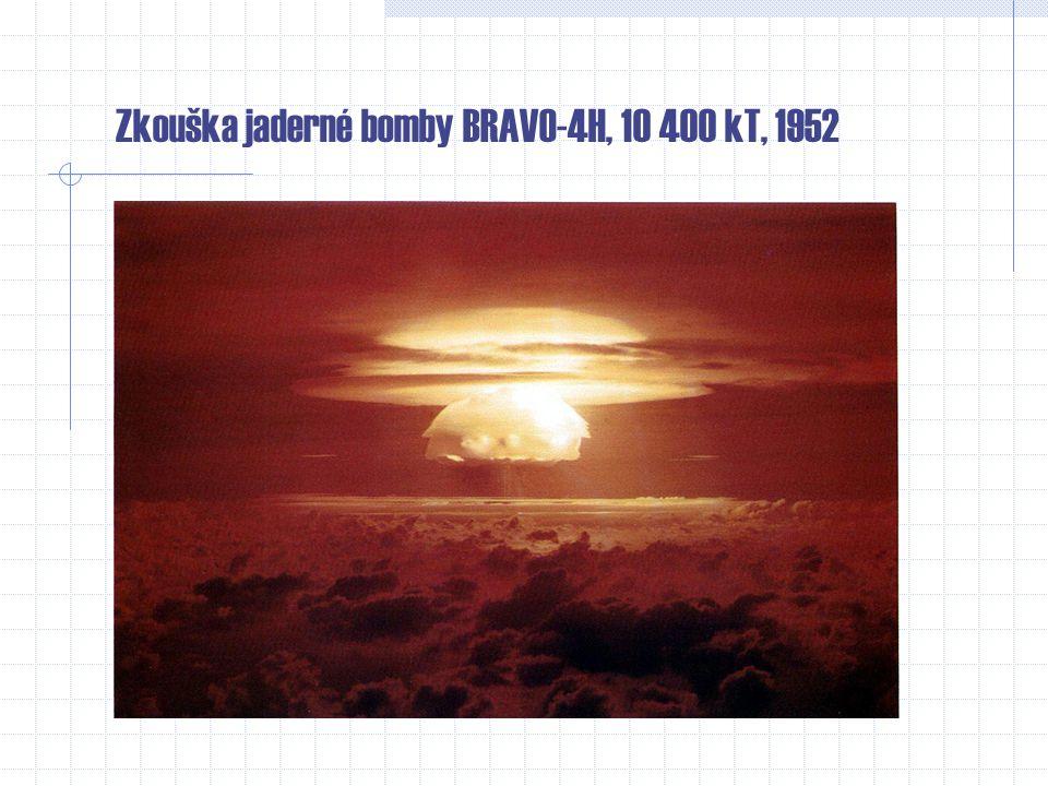 Jaderné zkoušky i) pozemní ii) podzemní iii) vzdušní (stovky až desetitisíce metrů nad povrchem) iv) námořní (na i pod hladinou) Zkoušky prováděly neb