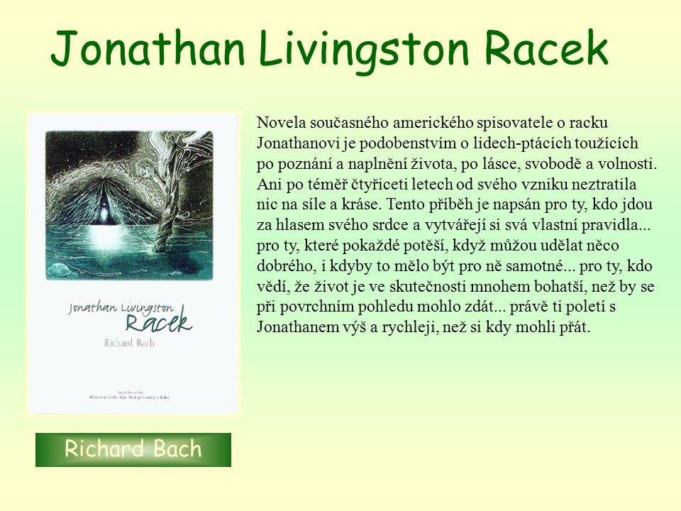 Novela současného amerického spisovatele o racku Jonathanovi je podobenstvím o lidech-ptácích toužících po poznání a naplnění života, po lásce, svobodě a volnosti.