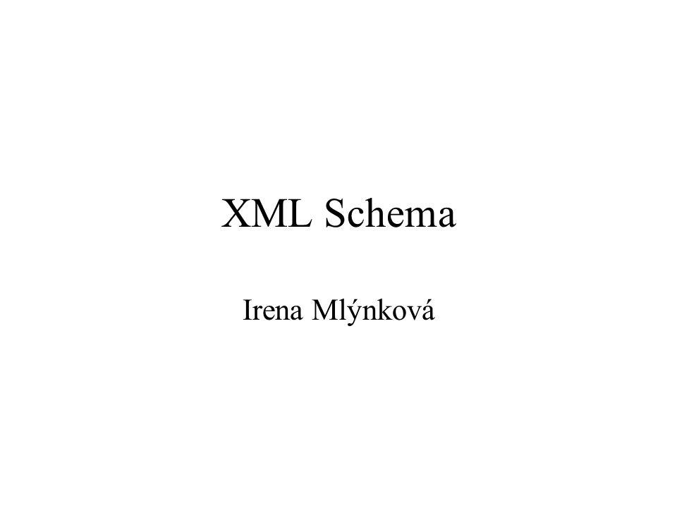 XML Schema Irena Mlýnková