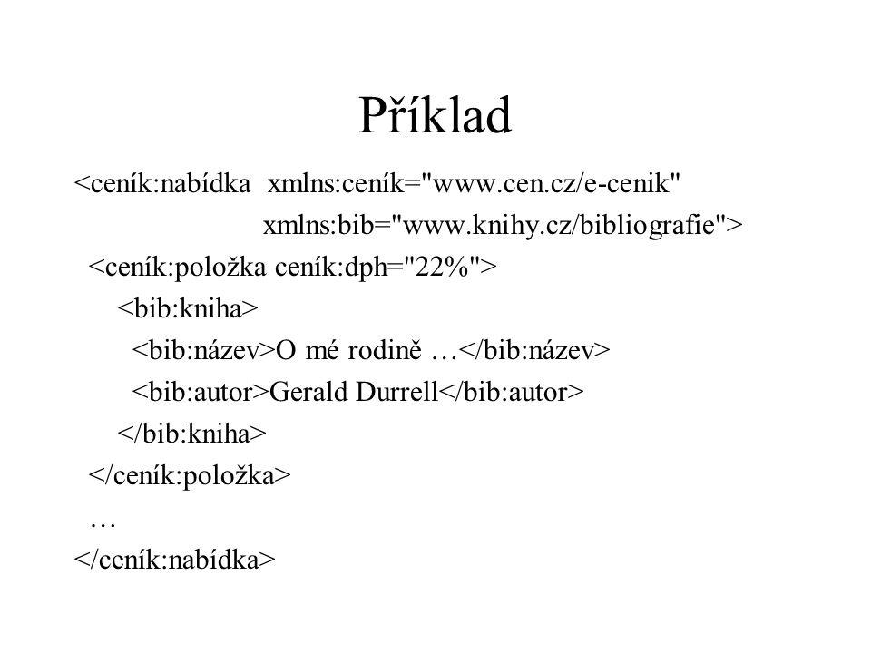 Příklad <ceník:nabídka xmlns:ceník= www.cen.cz/e-cenik xmlns:bib= www.knihy.cz/bibliografie > O mé rodině … Gerald Durrell …