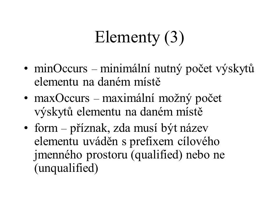 Elementy (3) minOccurs – minimální nutný počet výskytů elementu na daném místě maxOccurs – maximální možný počet výskytů elementu na daném místě form – příznak, zda musí být název elementu uváděn s prefixem cílového jmenného prostoru (qualified) nebo ne (unqualified)