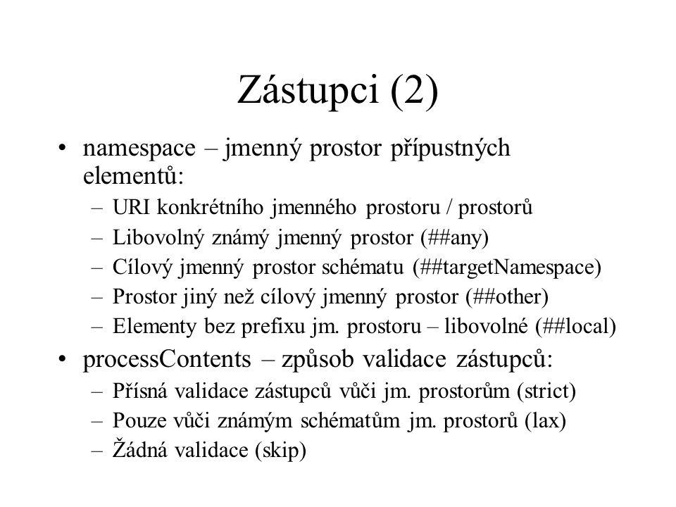 Zástupci (2) namespace – jmenný prostor přípustných elementů: –URI konkrétního jmenného prostoru / prostorů –Libovolný známý jmenný prostor (##any) –Cílový jmenný prostor schématu (##targetNamespace) –Prostor jiný než cílový jmenný prostor (##other) –Elementy bez prefixu jm.