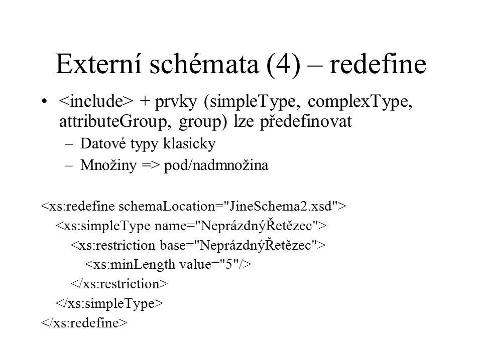 Externí schémata (4) – redefine + prvky (simpleType, complexType, attributeGroup, group) lze předefinovat –Datové typy klasicky –Množiny => pod/nadmnožina