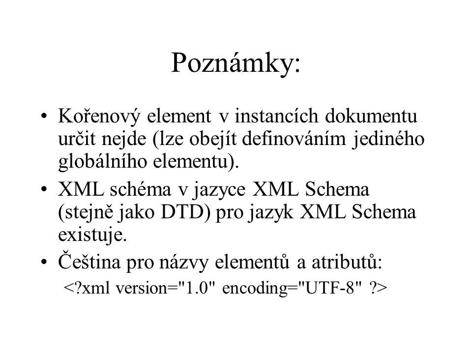 Poznámky: Kořenový element v instancích dokumentu určit nejde (lze obejít definováním jediného globálního elementu).