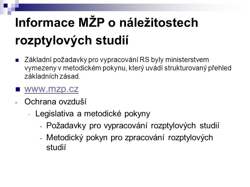 Informace MŽP o náležitostech rozptylových studií Základní požadavky pro vypracování RS byly ministerstvem vymezeny v metodickém pokynu, který uvádí s