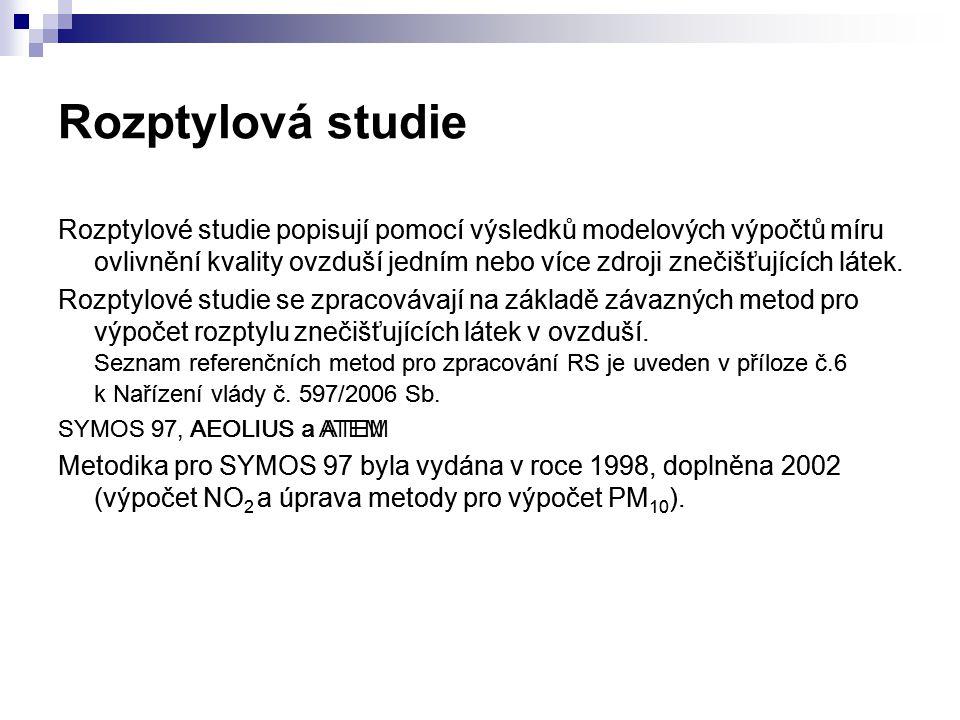 Obsah rozptylových studií 1. Vstupní údaje 2. Metodika výpočtu 3. Výstupní údaje