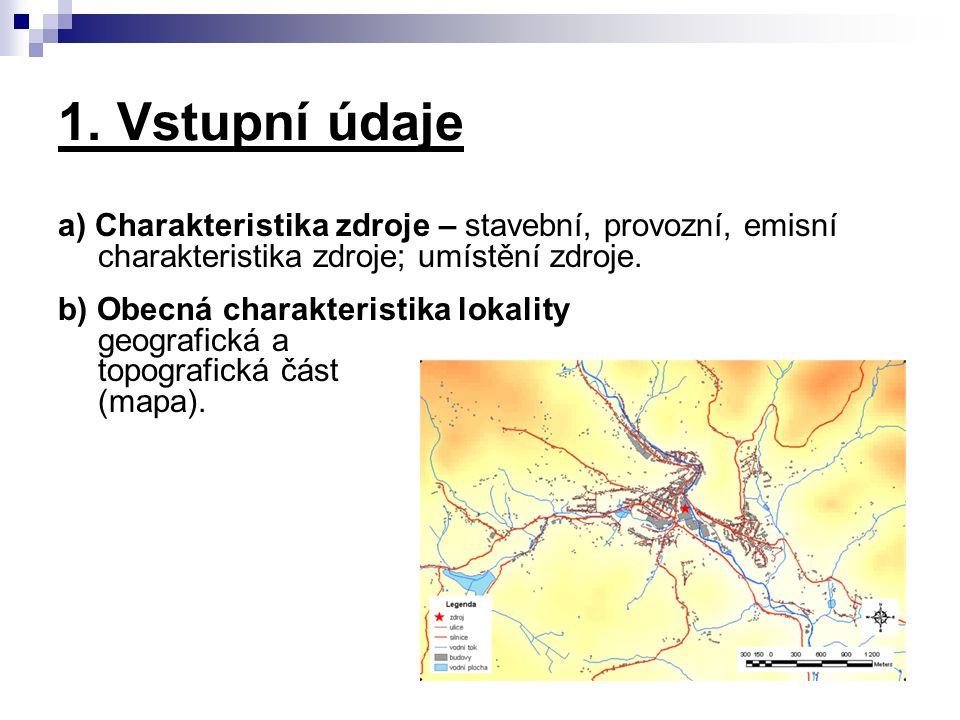 1. Vstupní údaje a) Charakteristika zdroje – stavební, provozní, emisní charakteristika zdroje; umístění zdroje. b) Obecná charakteristika lokality ge