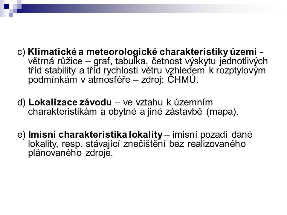 c) Klimatické a meteorologické charakteristiky území - větrná růžice – graf, tabulka, četnost výskytu jednotlivých tříd stability a tříd rychlosti vět