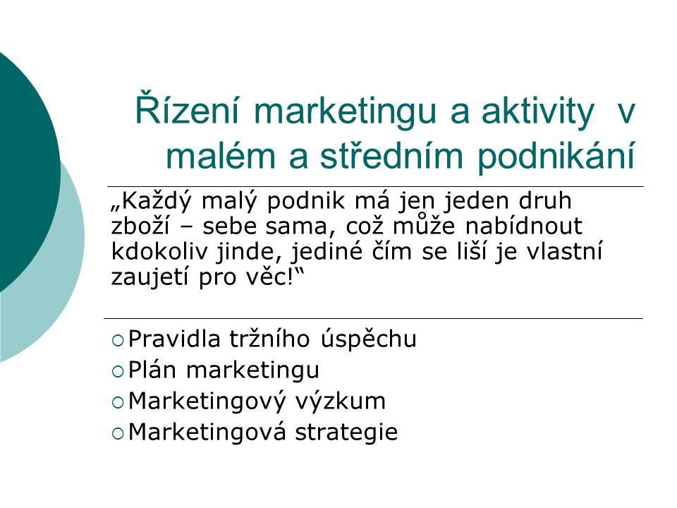 """Řízení marketingu a aktivity v malém a středním podnikání """"Každý malý podnik má jen jeden druh zboží – sebe sama, což může nabídnout kdokoliv jinde, jediné čím se liší je vlastní zaujetí pro věc!  Pravidla tržního úspěchu  Plán marketingu  Marketingový výzkum  Marketingová strategie"""