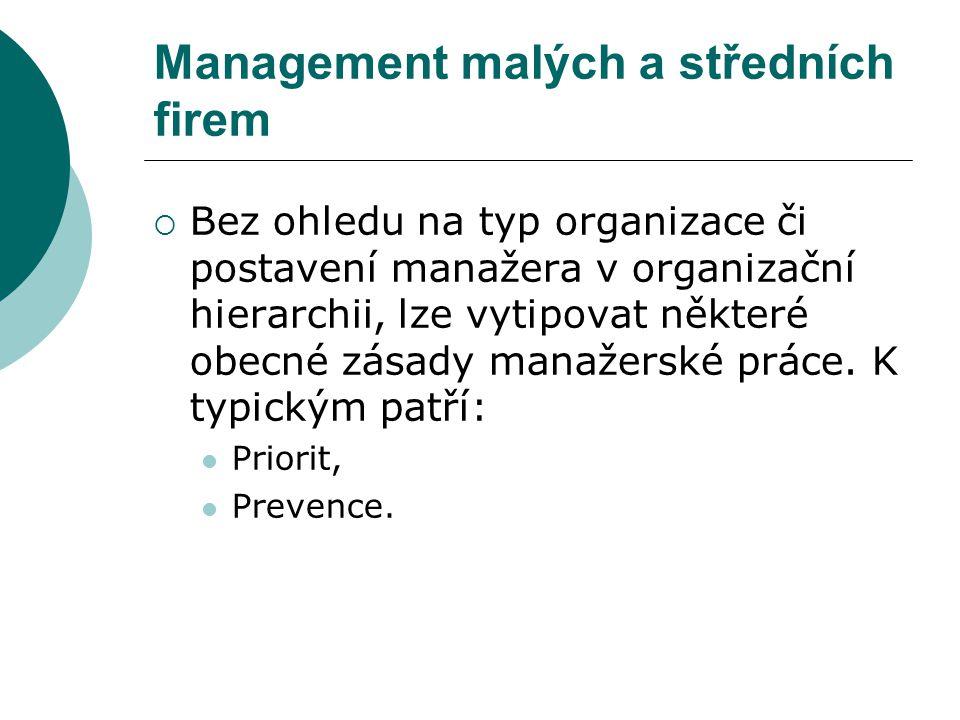 Management malých a středních firem  Bez ohledu na typ organizace či postavení manažera v organizační hierarchii, lze vytipovat některé obecné zásady manažerské práce.