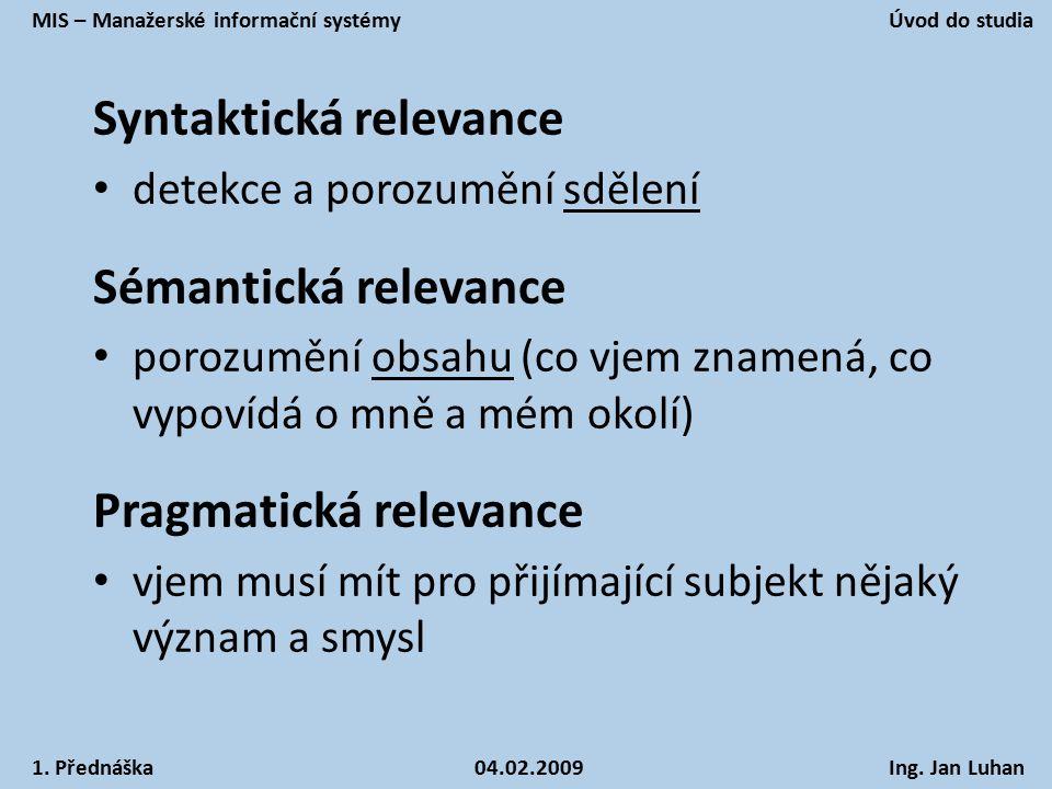 Syntaktická relevance detekce a porozumění sdělení Sémantická relevance porozumění obsahu (co vjem znamená, co vypovídá o mně a mém okolí) Pragmatická