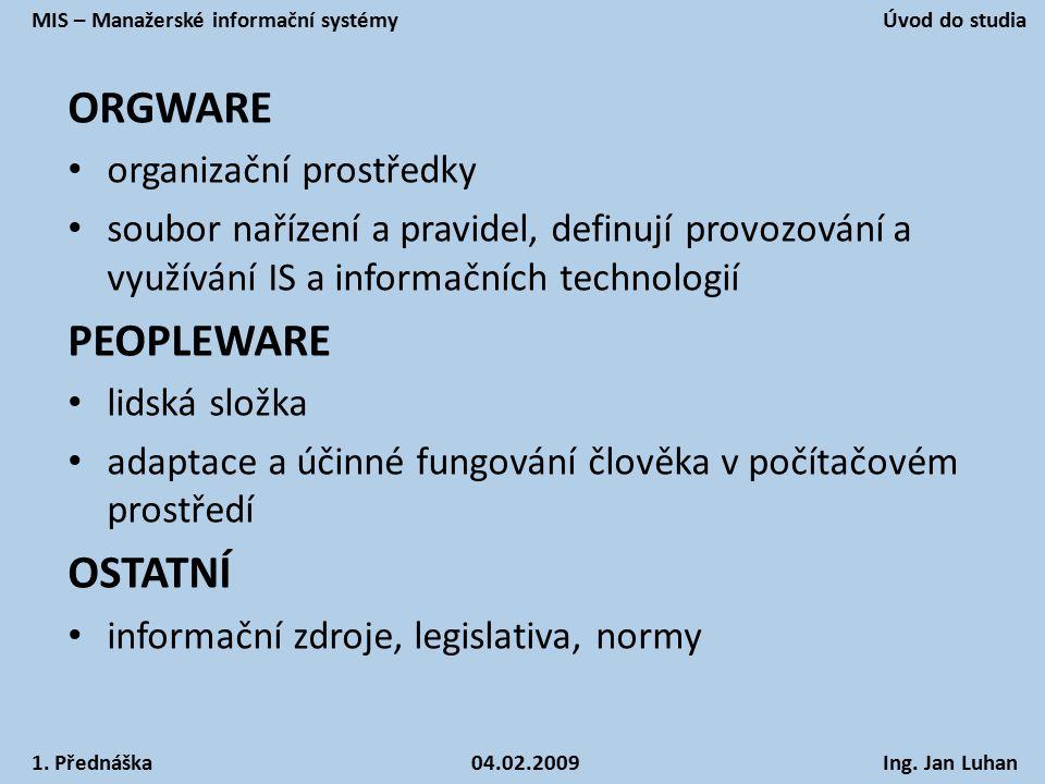 ORGWARE organizační prostředky soubor nařízení a pravidel, definují provozování a využívání IS a informačních technologií PEOPLEWARE lidská složka ada