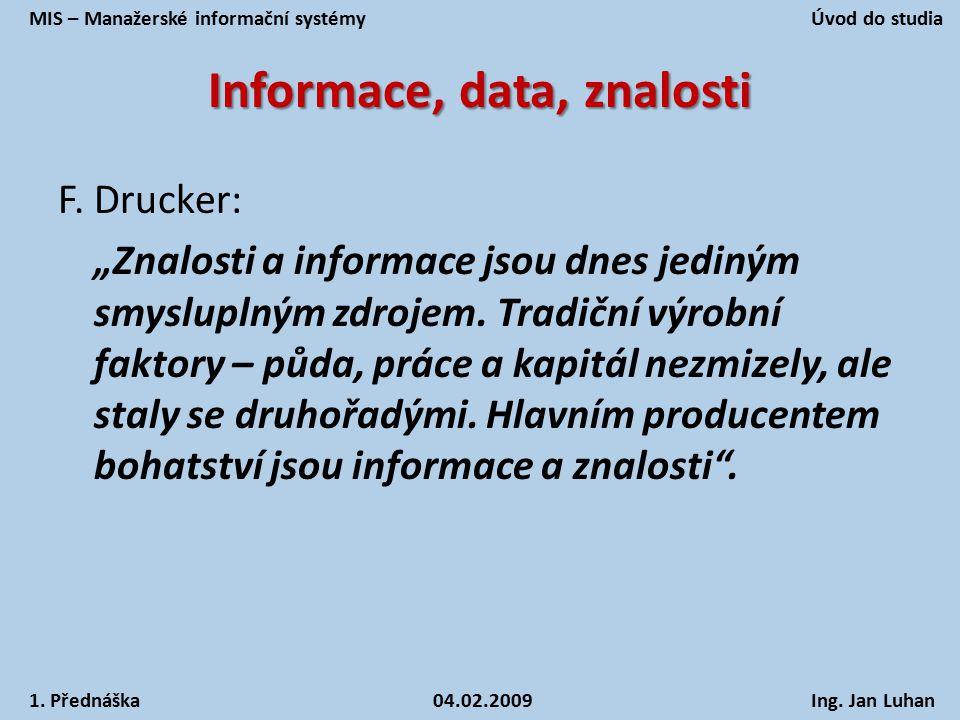"""Informace, data, znalosti F. Drucker: """"Znalosti a informace jsou dnes jediným smysluplným zdrojem. Tradiční výrobní faktory – půda, práce a kapitál ne"""