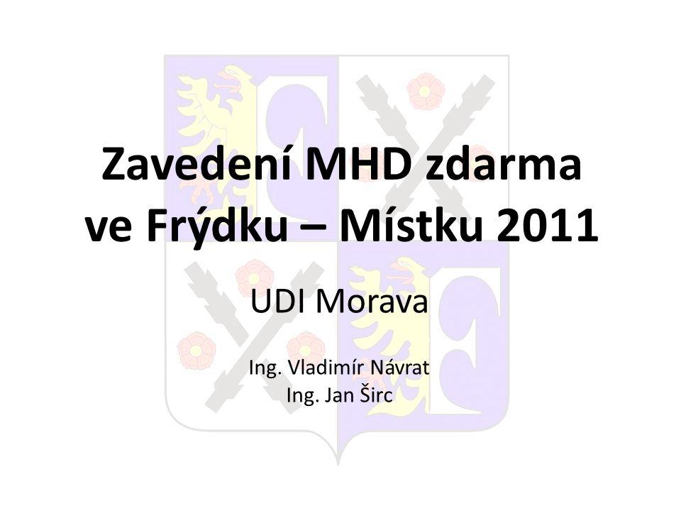 Zavedení MHD zdarma ve Frýdku – Místku 2011 UDI Morava Ing. Vladimír Návrat Ing. Jan Širc