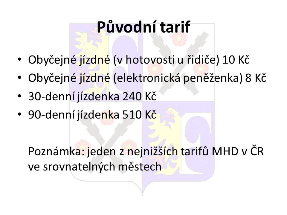 Původní tarif Obyčejné jízdné (v hotovosti u řidiče) 10 Kč Obyčejné jízdné (elektronická peněženka) 8 Kč 30-denní jízdenka 240 Kč 90-denní jízdenka 51