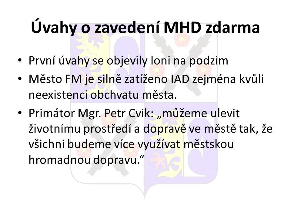 Úvahy o zavedení MHD zdarma První úvahy se objevily loni na podzim Město FM je silně zatíženo IAD zejména kvůli neexistenci obchvatu města. Primátor M