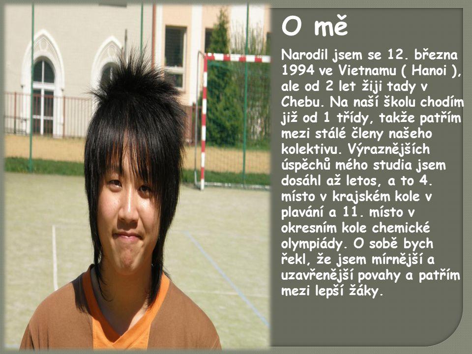 Narodil jsem se 12. března 1994 ve Vietnamu ( Hanoi ), ale od 2 let žiji tady v Chebu.
