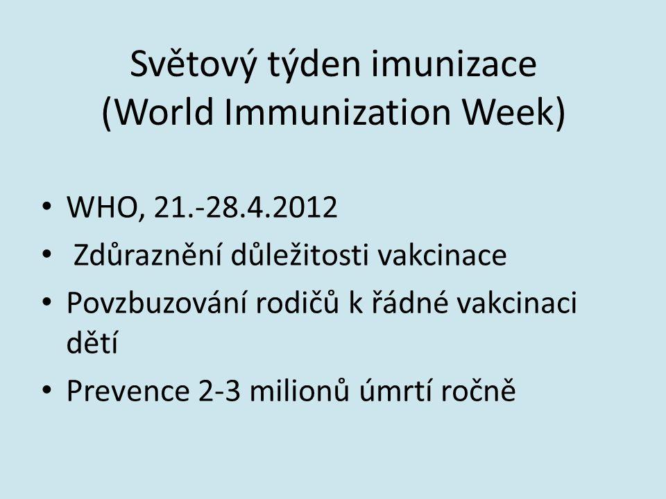 Světový týden imunizace (World Immunization Week) WHO, 21.-28.4.2012 Zdůraznění důležitosti vakcinace Povzbuzování rodičů k řádné vakcinaci dětí Preve