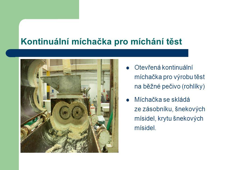 Kontinuální míchačka pro míchání těst Otevřená kontinuální míchačka pro výrobu těst na běžné pečivo (rohlíky) Míchačka se skládá ze zásobníku, šnekový