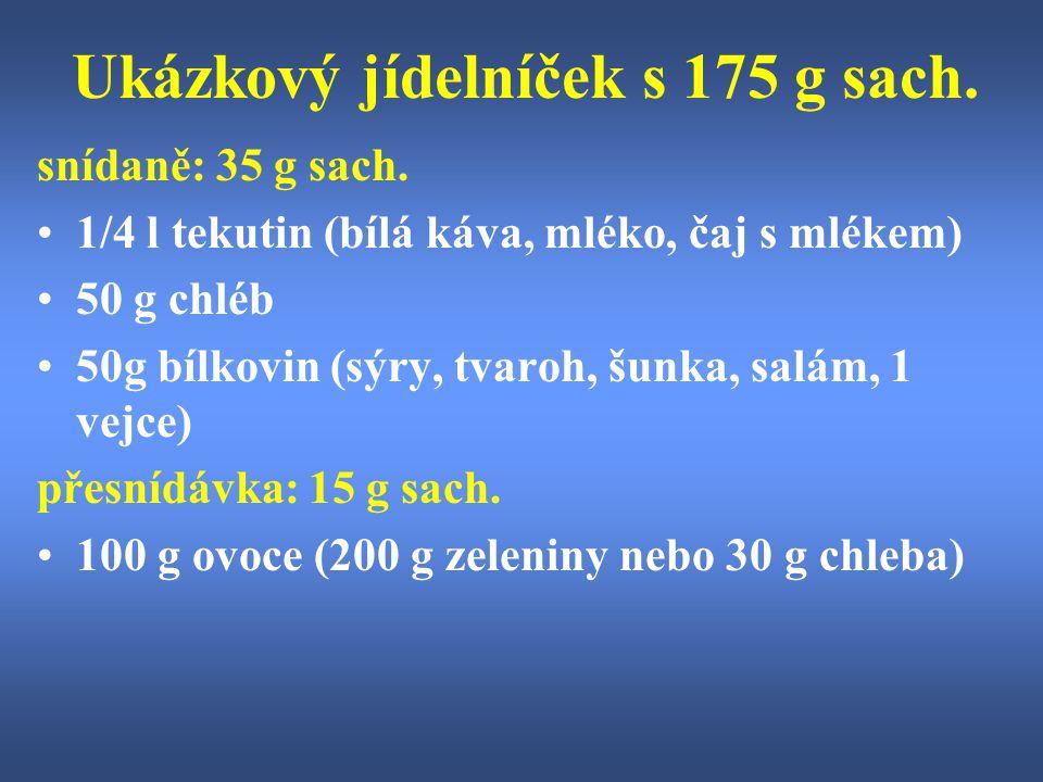 Ukázkový jídelníček s 175 g sach. snídaně: 35 g sach. 1/4 l tekutin (bílá káva, mléko, čaj s mlékem) 50 g chléb 50g bílkovin (sýry, tvaroh, šunka, sal
