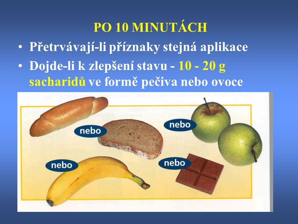 PO 10 MINUTÁCH Přetrvávají-li příznaky stejná aplikace Dojde-li k zlepšení stavu - 10 - 20 g sacharidů ve formě pečiva nebo ovoce
