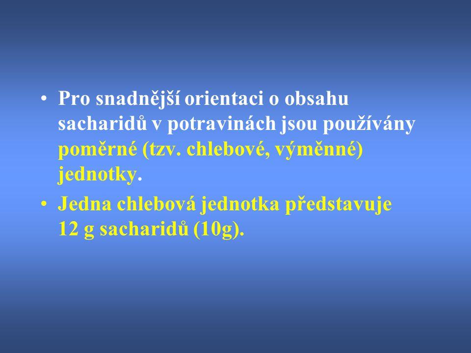 Pro snadnější orientaci o obsahu sacharidů v potravinách jsou používány poměrné (tzv. chlebové, výměnné) jednotky. Jedna chlebová jednotka představuje