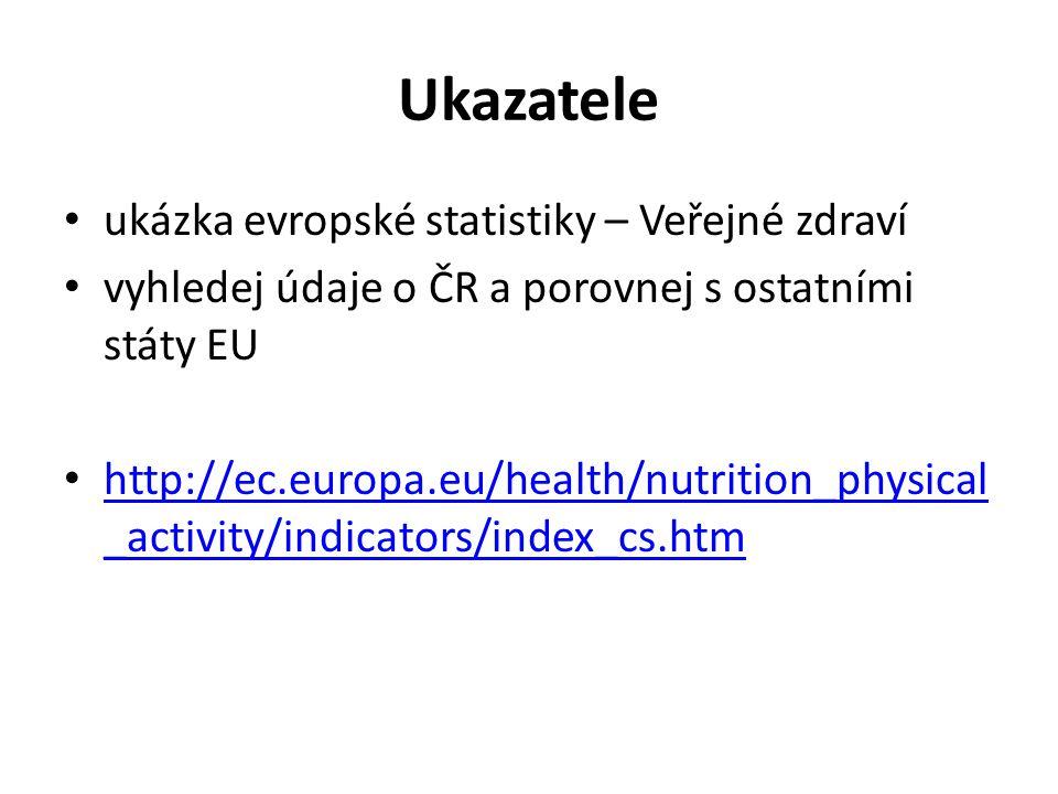 Ukazatele ukázka evropské statistiky – Veřejné zdraví vyhledej údaje o ČR a porovnej s ostatními státy EU http://ec.europa.eu/health/nutrition_physica