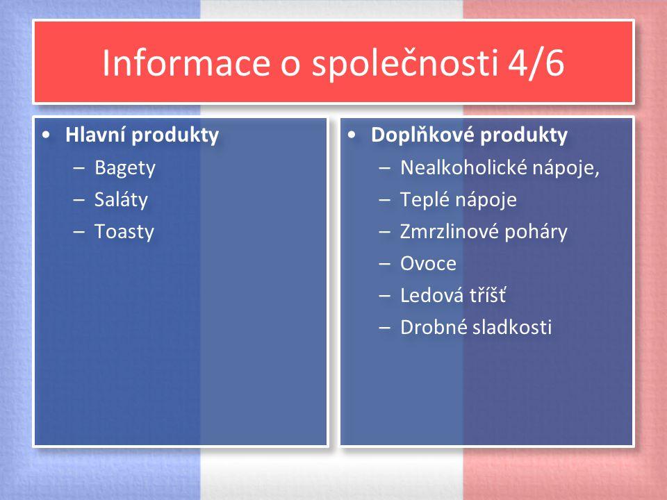 Informace o společnosti 4/6 Hlavní produkty –Bagety –Saláty –Toasty Hlavní produkty –Bagety –Saláty –Toasty Doplňkové produkty –Nealkoholické nápoje,
