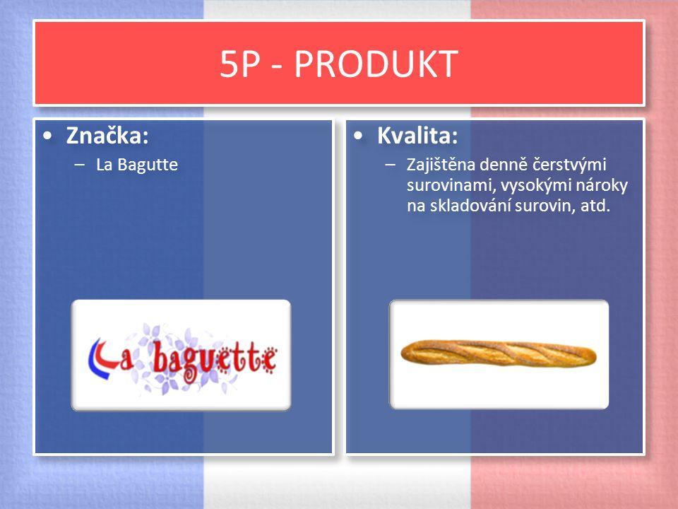 5P - PRODUKT Značka: –La Bagutte Značka: –La Bagutte Kvalita: –Zajištěna denně čerstvými surovinami, vysokými nároky na skladování surovin, atd. Kvali